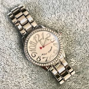 NWOT Betsey Johnson Silver Love Watch